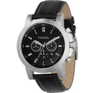 Fossil Men's FS4247 Black Leather Quartz Watch