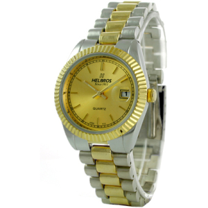 Helbros Men's HE8345T Stainless-Steel Quartz Watch with Gold Dial