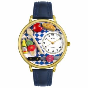 Whimsical Watches Unisex Gourmet Gold G0310001 White Leather Analog Quartz Watch
