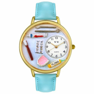 Whimsical Watches Unisex Dental Gold G0620001 White Leather Analog Quartz Watch