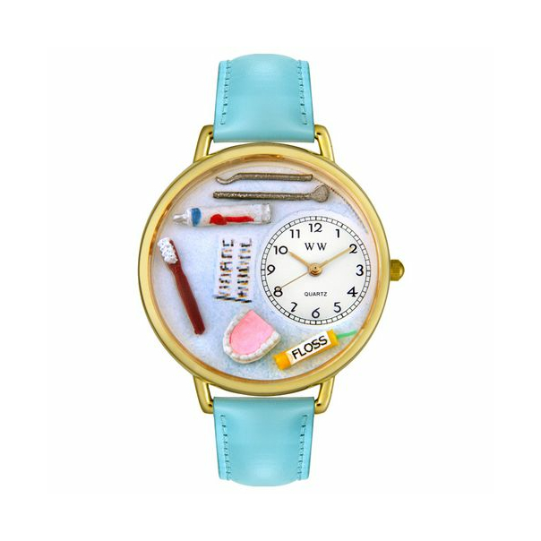 Whimsical Watches Unisex Dental Gold G0620001 White Leather Analog Quartz Watch