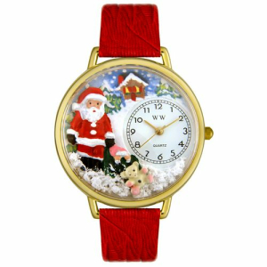 Whimsical Watches Unisex Santa Claus Gold G1220009 White Leather Analog Quartz Watch