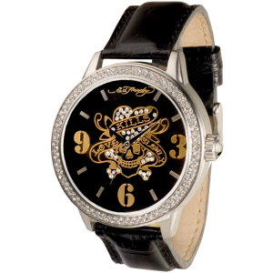 Ed Hardy Men's Apollo Love Kills Slowly AP-LK Black Leather Analog Quartz Watch