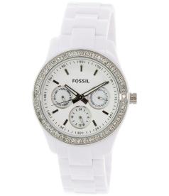 Fossil Women's Stella ES1967 White Resin Analog Quartz Watch