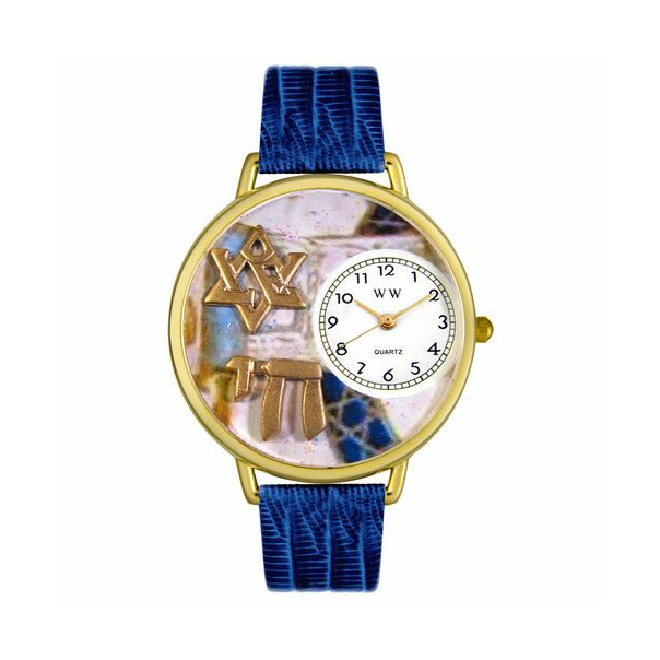 Whimsical Watches Men's Star of David Gold G0710008 Gold Leather Quartz Watch