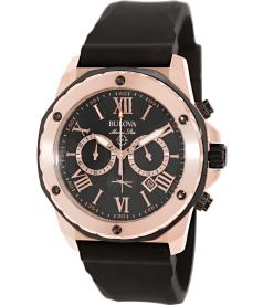 Bulova Men's Marine Star 98B104 Black Rubber Quartz Watch