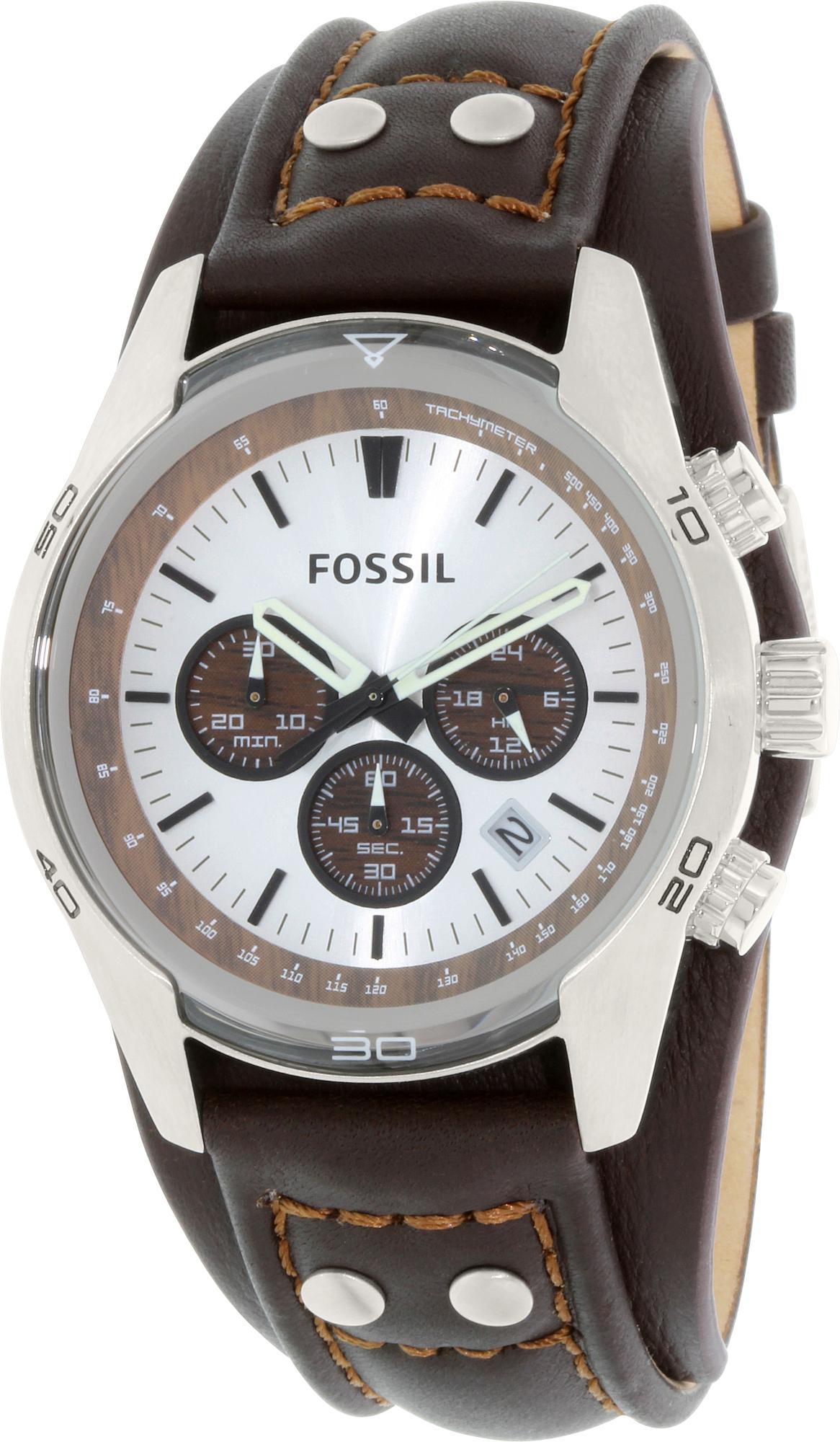 Fossil_Mens_Cuff_CH2565_Brown_Leather_Quartz_Fashion_Watch