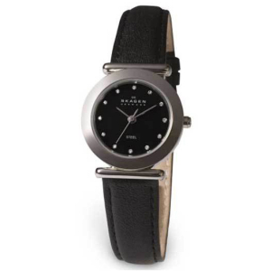 Skagen Women's Round Black Glitz 107SSLB Black Leather Quartz Watch