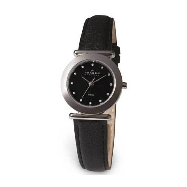 Skagen Women's Round Black Glitz 107SSLB Black Leather Quartz Watch
