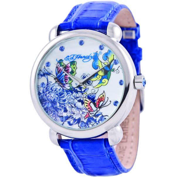 Ed Hardy Women's Garden GN-BL White Leather Quartz Watch