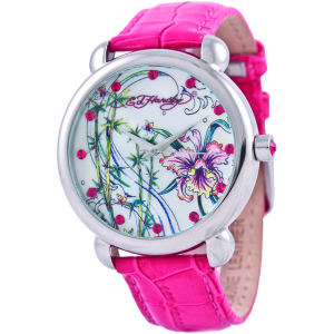Ed Hardy Women's Garden GN-PK White Leather Quartz Watch