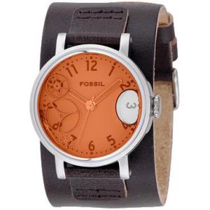Fossil Men's Orange Water Dial JR9952 White Leather Analog Quartz Watch