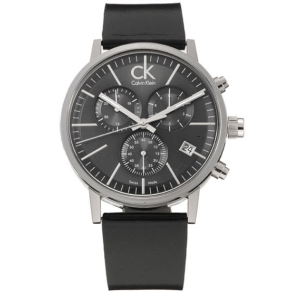 Calvin Klein Men's Post Minimal K7627107 Black Leather Quartz Watch