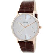 Bulova Men's 98H51 White Crocodile Leather Quartz Watch