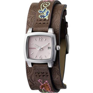 Fossil Women's JR1113 Pink Leather Quartz Watch
