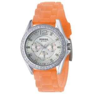 Fossil Unisex ES2526 Silver Silicone Analog Quartz Watch