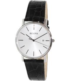 Bulova Men's Dress 96B104 Silver Leather Quartz Watch