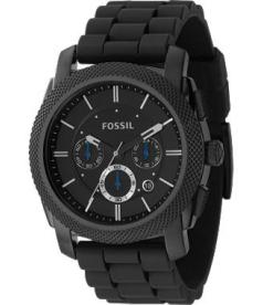 Fossil Men's Machine FS4487 Black Silicone Analog Quartz Watch