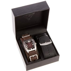 Guess Men's U95134G1 Brown Leather Quartz Watch