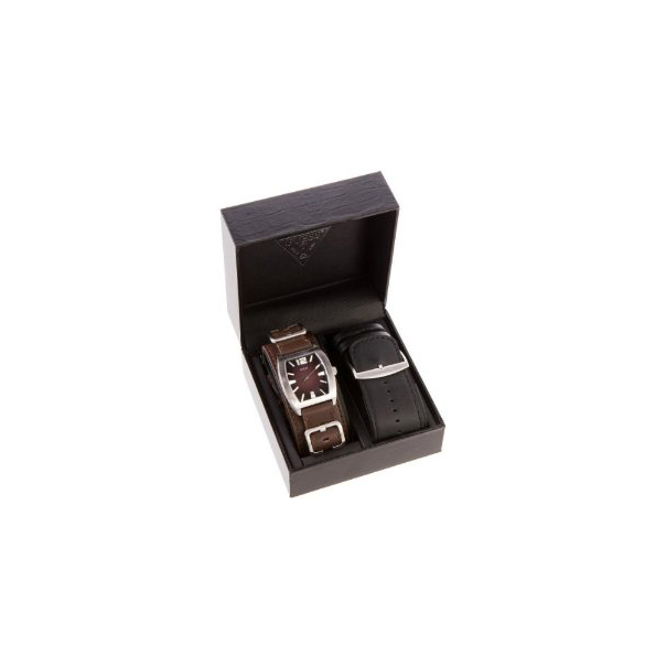 Guess Men's U95134G1 Brown Leather Quartz Watch
