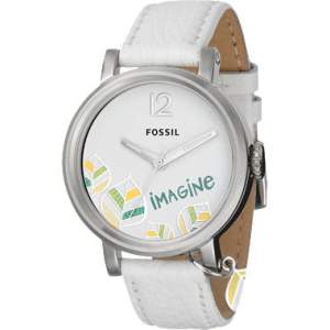 Fossil Women's Dress ES2576 White Leather Quartz Watch