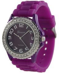 Geneva Platinum Women's 6886.PRP Purple Silicone Quartz Watch