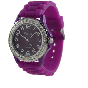 Geneva Platinum Women's 6886.PRP Purple Silicone Quartz Watch