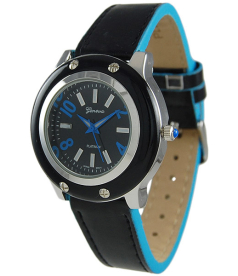 Geneva Platinum Women's 7654.BLU Black Leather Quartz Watch
