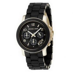 Michael Kors Women's Runway MK5191 Black Rubber Quartz Watch