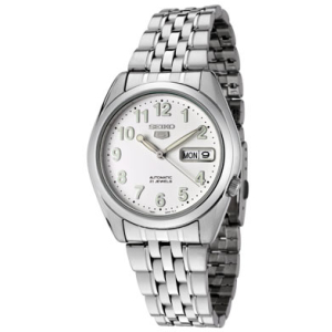 Seiko Men's 5 Automatic SNK377K White Stainless-Steel Automatic Watch