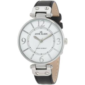 Anne Klein Women's 10-9169WTBK White Leather Quartz Watch