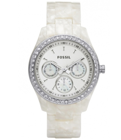 Fossil Women's Stella ES2790 White Plastic Quartz Watch