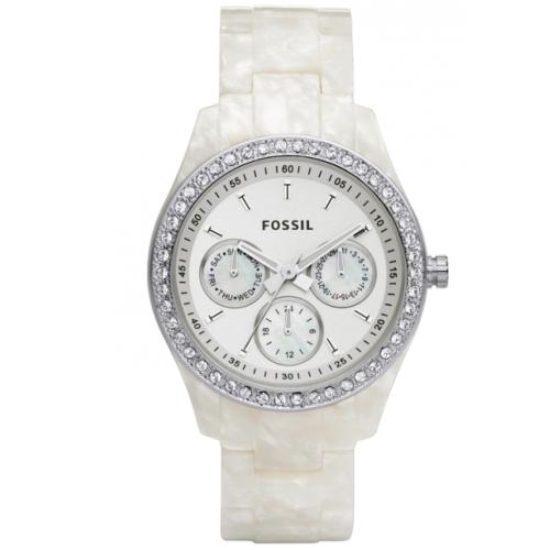 fossil s stella es2790 white plastic quartz