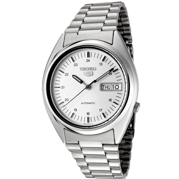 Seiko Men's 5 Automatic SNXF09K Silver Stainless-Steel Automatic Watch