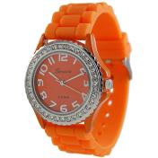 Geneva Platinum Women's 6886.Orange Orange Rubber Quartz Watch