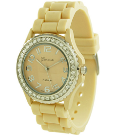 Geneva Platinum Women's 6886.Tan Beige Rubber Quartz Watch