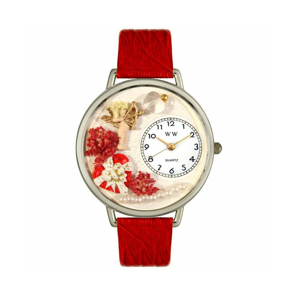 Whimsical Watches Unisex Valentine's Day (Red) in Silver Watch U1220033