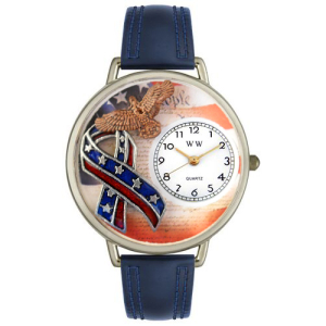 Whimsical Watches Unisex American Patriotic in Silver U1220035 White Leather Quartz Watch