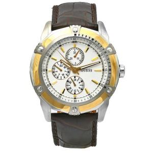 Guess Men's W15521G1 White Leather Quartz Watch