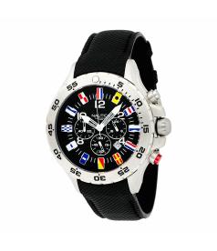 Nautica Men's NST CHRONO FLAG N16553G Black Polyurethane Quartz Watch