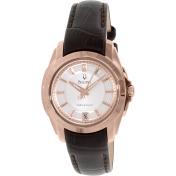 Bulova Women's 97M104 White Calf Skin Quartz Watch