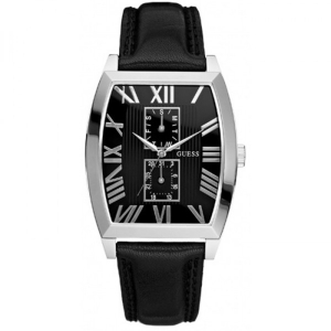 Guess Men's W85066G1 Black Leather Quartz Watch