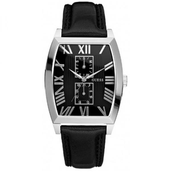 Guess Men's W85066G1 Black Leather Quartz Watch