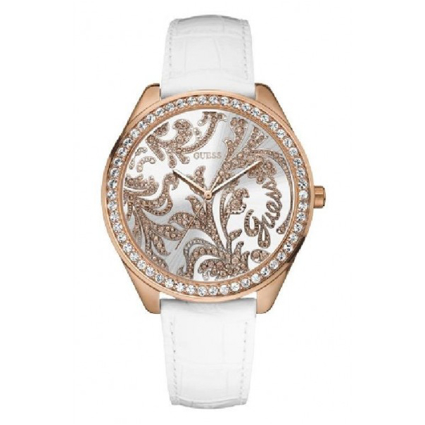 Guess Women's W95106L1 Silver Leather Quartz Watch