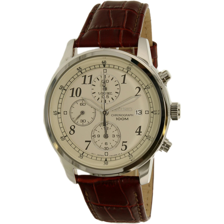 seiko men 39 s sndc31 silver calf skin quartz dress watch. Black Bedroom Furniture Sets. Home Design Ideas