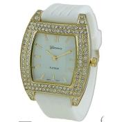 Geneva Platinum Women's 2089.White.Gold White Rubber Quartz Watch