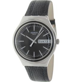 Swatch Men's Irony YGS744 Black Leather Swiss Quartz Watch
