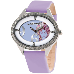 Ed Hardy Women's SG-TR Purple Calf Skin Quartz Watch