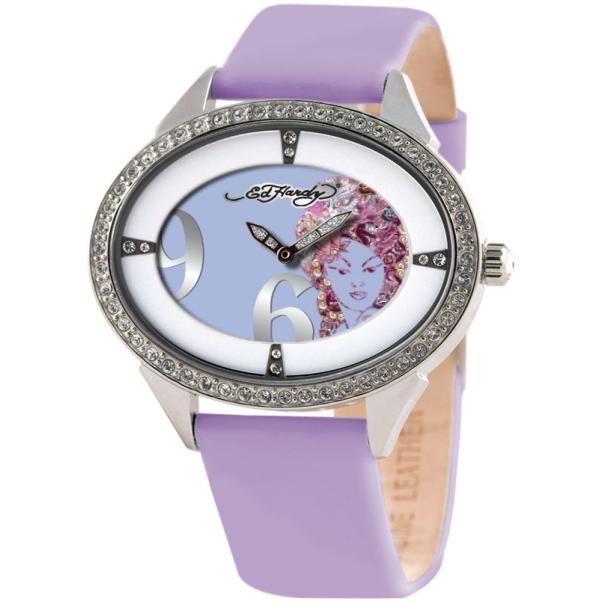Ed Hardy Women's SG-TR Purple Calf Skin Quartz Watch