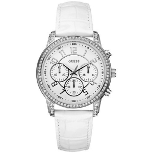 Guess Women's U13602L1 White Leather Quartz Watch